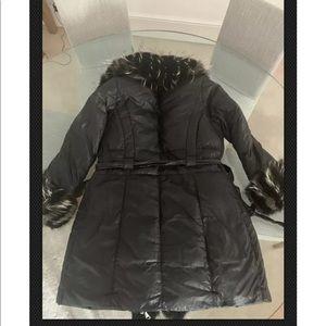 Sportalm Italy fur collar coat down puffer Large